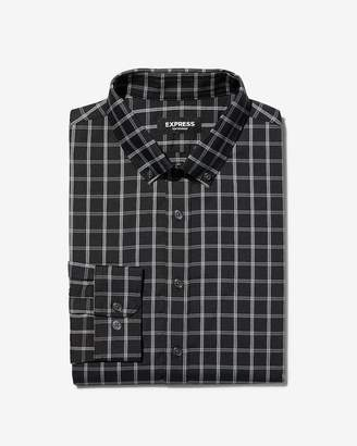 Express Slim Plaid Button-Down Wrinkle-Resistant Performance Dress Shirt