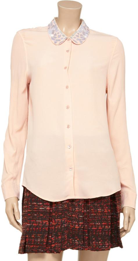 Equipment Sophie embellished washed-silk shirt