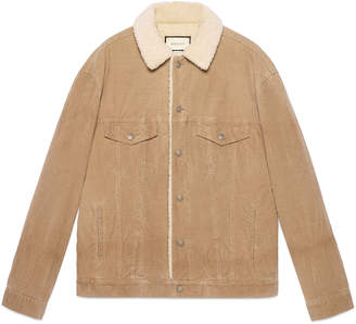 Gucci Embroidered corduroy jacket