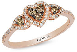 Levian Chocolatier White Diamond, Brown Diamond and 14k Strawberry Gold Ring $1,980 thestylecure.com