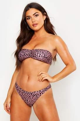 boohoo Leopard Bandeau Bikini
