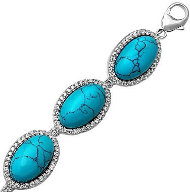 JCPenney Alexandra Gem Sterling Silver Simulated Turquoise & CZ Bracelet