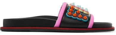 Fendi - Grosgrain-trimmed Embellished Leather And Rubber Slides - Black