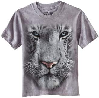 The Mountain Little Boys' Youth White Tiger Face Shirt