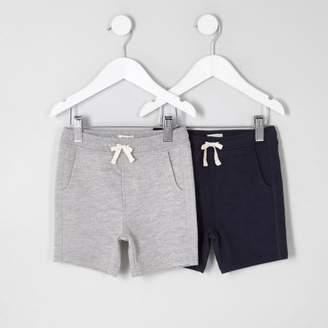 River Island Mini boys grey and navy shorts multipack
