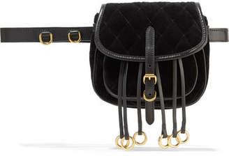 Leather-trimmed Quilted Velvet Belt Bag - Black