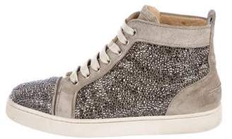 Christian Louboutin Embellished Suede High Top Sneakers