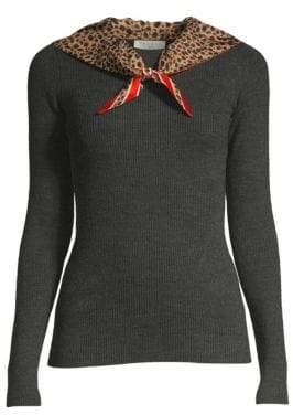 Sandro Bonte Rib-Knit Silk Scarf Sweater