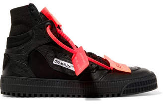 Off-White Appliquéd Logo-embellished Textured-leather And Mesh Sneakers - Black