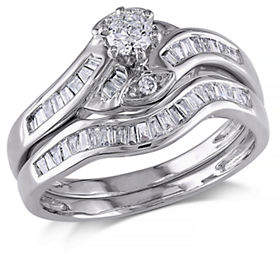 HBC CONCERTO .5 CT Round and Tapers Diamonds TW 14k White Gold Wedding Ring Set