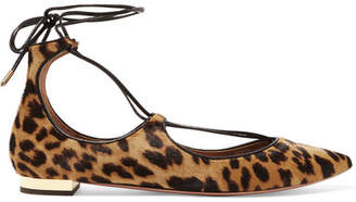 Aquazzura Christy Leopard-print Calf Hair Point-toe Flats - Leopard print