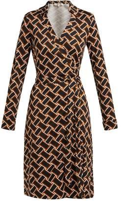 Diane von Furstenberg New Jeanne Silk Jersey Dress - Womens - Black Brown