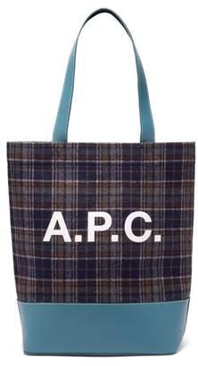 A.P.C. Axelle Checked Felt Tote Bag - Womens - Blue Multi