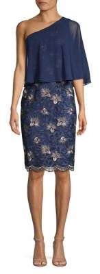 Alex Evenings One-Shoulder Embroidered Shift Dress