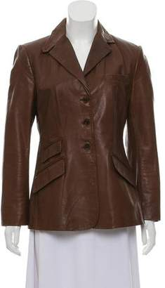 Ralph Lauren Leather Notch-Lapel Blazer