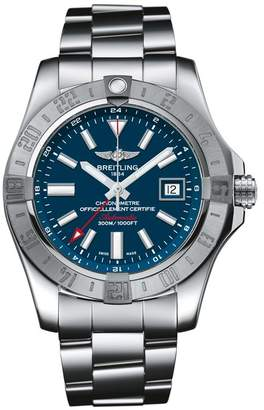 Breitling Stainless Steel Avenger II GMT Automatic Watch 43mm