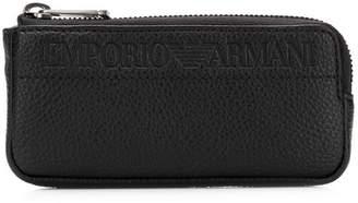Emporio Armani embossed logo zipped wallet