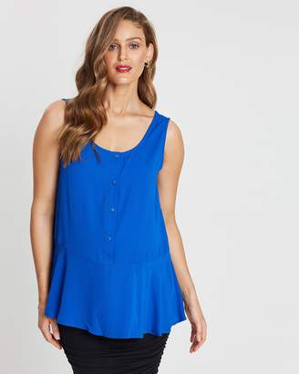 Angel Maternity Button-Front Smart Top