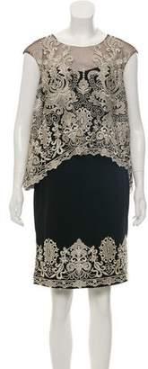 Marchesa Silk Embroidered Dress