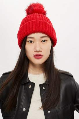 Topshop Knitted Faux Fur Pom Hat