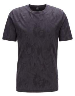 Slim-fit T-shirt with jacquard-woven floral pattern