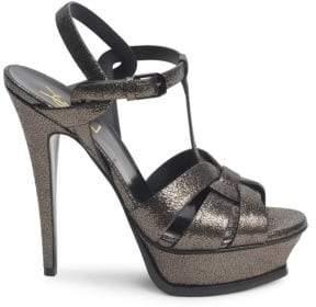 Saint Laurent Tribute Metallic Leather High Heel Sandals