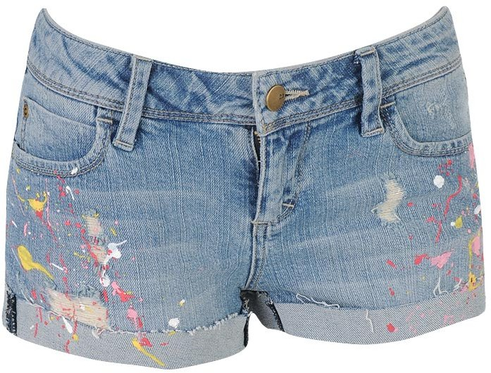 Paint Splattered Denim Short