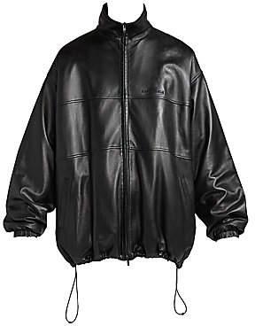 Balenciaga Men's Oversized Leather Track Jacket