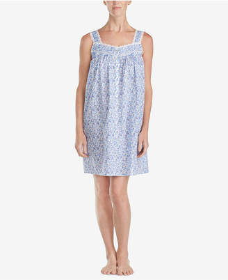 Eileen West Botanical-Print Venise-Lace Woven Nightgown