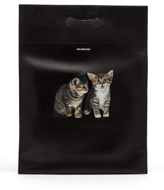 Balenciaga Kitten Print Leather Tote Bag - Womens - Black Multi
