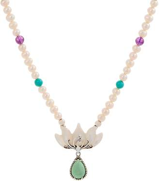 Carolyn Pollack Lotus Flower Sterling Silver Pearl Necklace