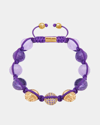 Women's Beaded Bracelet with Amethyst and Amethyst Lavender