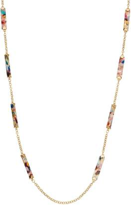 Gold Tone Multi Colored Acetate Bar Strand Necklace