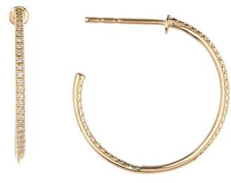 Ron Hami 14K Yellow Gold Pave Diamond Inside Out Hoop Earrings - 0.15 ctw