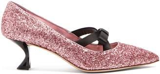 Miu Miu Bow-embellished glitter pumps