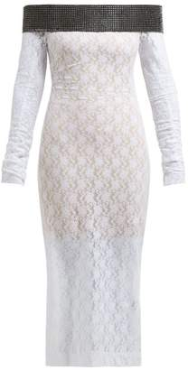Christopher Kane Crystal Embellished Chantilly Lace Midi Dress - Womens - White