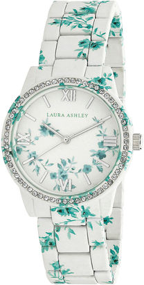 Laura Ashley Bridal Lace Print Printed Watch With Round Silver-Tone Dial And Crystals Around Bezel La31018I $395 thestylecure.com