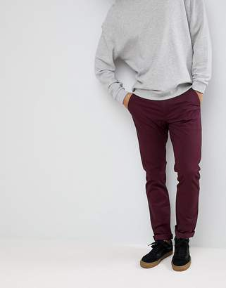 Farah Elm Slim Fit Twill Chino in Burgundy