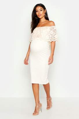 21e3b397fcfdc boohoo Maternity Bardot Lace Bodycon Dress