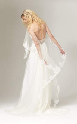 Savannah Miller Blythe Fit And Flare Crepe And Tulle Gown With Lace Trim
