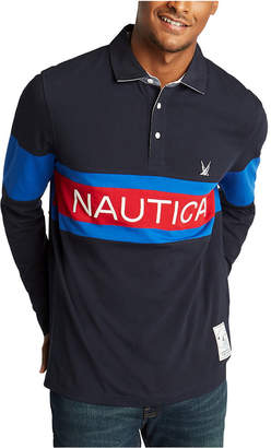 Nautica Men Classic-Fit Blue Sail Chest Logo Long Sleeve Polo Rugby Shirt