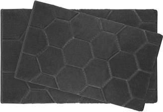"Laura Ashley Pearl Honeycomb 20 x 32"" 2 Piece Bath Mat Set, Street"