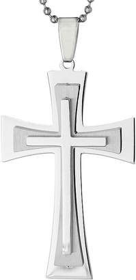 FINE JEWELRY Mens Stainless Steel Triple Layer Cross Pendant