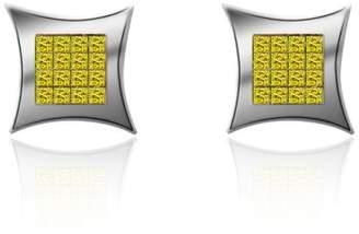 14K White Gold Fancy Yellow Princess Cut Diamond Earrings
