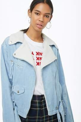 Forever 21 Faux Fur-Collar Corduroy Moto Jacket