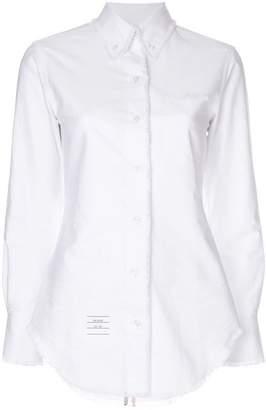 Thom Browne Center-Back Stripe Frayed Oxford Shirt