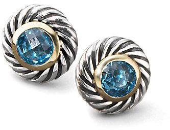 David Yurman Blue Topaz, Sterling Silver & 18K Yellow Gold Button Earrings