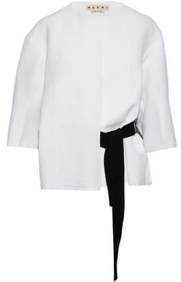 Marni Belted Frayed Cotton-Poplin Jacket