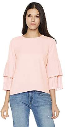 Plumberry Women's Ruffled-Sleeve Zip-Back Casual Blouse Top