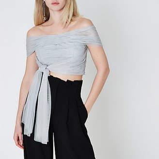 River Island Womens Light Grey tulle wrap bandeau crop top